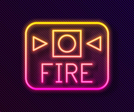 Glowing neon line Fire alarm system icon isolated on black background. Pull danger fire safety box. Vector  イラスト・ベクター素材