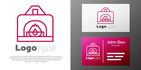 Logotype line Interior fireplace icon isolated on white background. Logo design template element. Vector  イラスト・ベクター素材