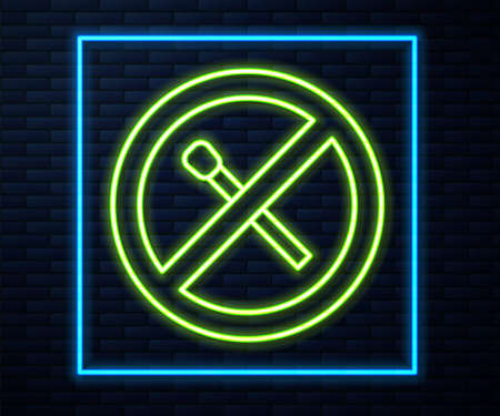 Glowing neon line No fire match icon isolated on brick wall background. No open flame. Burning match crossed in circle. Vector