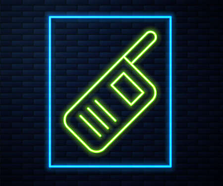 Glowing neon line Walkie talkie icon isolated on brick wall background. Portable radio transmitter icon. Radio transceiver sign. Vector