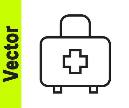 Black line First aid kit icon isolated on white background. Medical box with cross. Medical equipment for emergency. Healthcare concept. Vector  イラスト・ベクター素材