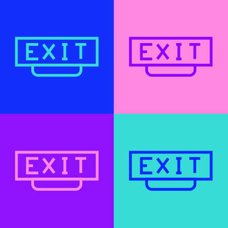 Pop art line Fire exit icon isolated on color background. Fire emergency icon. Vector