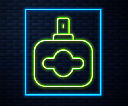 Glowing neon line Perfume icon isolated on brick wall background. Vector