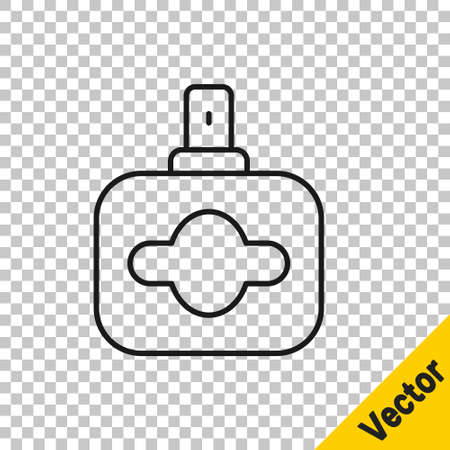 Black line Perfume icon isolated on transparent background. Vector  イラスト・ベクター素材