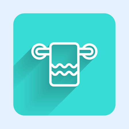 White line Towel on a hanger icon isolated with long shadow. Bathroom towel icon. Green square button. Vector