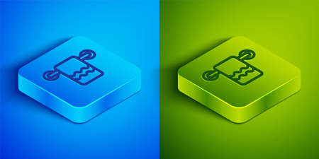 Isometric line Towel on a hanger icon isolated on blue and green background. Bathroom towel icon. Square button. Vector