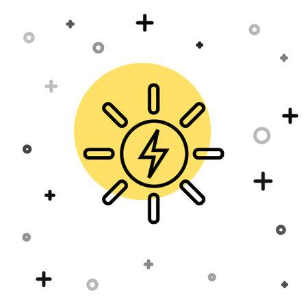 Black line Solar energy panel icon isolated on white background. Sun with lightning symbol. Random dynamic shapes. Vector  イラスト・ベクター素材