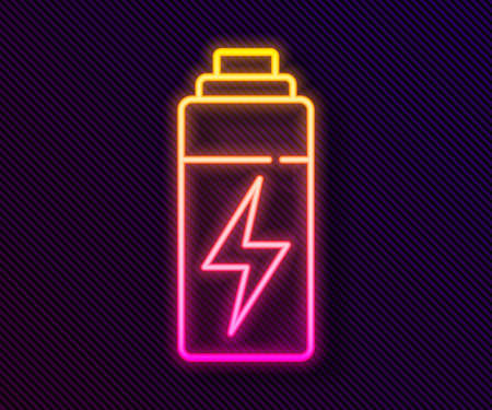 Glowing neon line Battery icon isolated on black background. Lightning bolt symbol. Vector  イラスト・ベクター素材