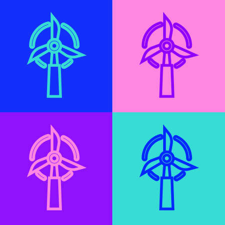 Pop art line Wind turbine icon isolated on color background. Wind generator sign. Windmill for electric power production. Vector