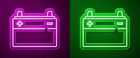 Glowing neon line Car battery icon isolated on purple and green background. Accumulator battery energy power and electricity accumulator battery. Vector