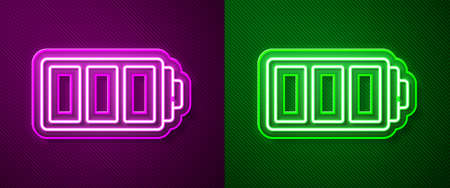 Glowing neon line Battery charge level indicator icon isolated on purple and green background. Vector
