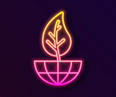Glowing neon line Earth globe and leaf icon isolated on black background. World or Earth sign. Geometric shapes. Environmental concept. Vector  イラスト・ベクター素材