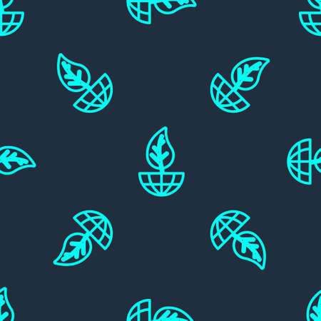 Green line Earth globe and leaf icon isolated seamless pattern on blue background. World or Earth sign. Geometric shapes. Environmental concept. Vector  イラスト・ベクター素材