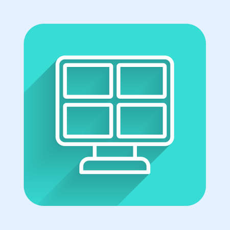 White line Solar energy panel icon isolated with long shadow. Green square button. Vector