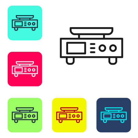 Black line Electronic scales icon isolated on white background. Weight measure equipment. Set icons in color square buttons. Vector  イラスト・ベクター素材