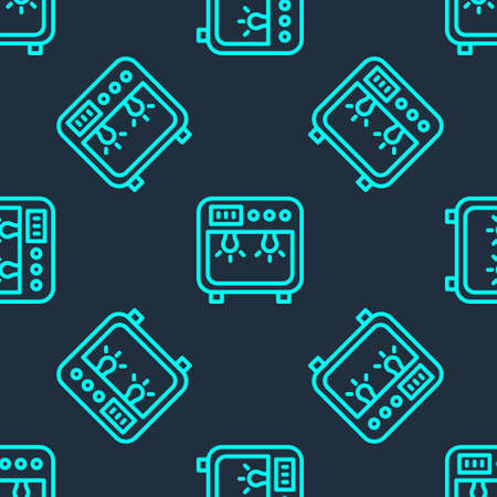 Green line Biosafety box icon isolated seamless pattern on blue background. Vector  イラスト・ベクター素材
