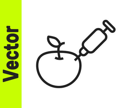 Black line Genetically modified apple icon isolated on white background. GMO fruit. Syringe being injected to apple. Vector  イラスト・ベクター素材