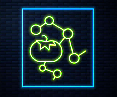 Glowing neon line Genetically modified food icon isolated on brick wall background. GMO fruit. Vector