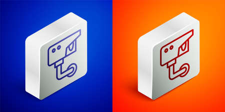 Isometric line Security camera icon isolated on blue and orange background. Silver square button. Vector  イラスト・ベクター素材