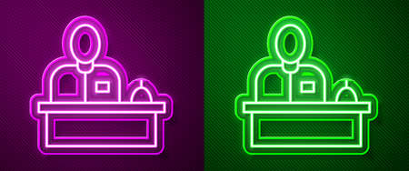 Glowing neon line Receptionist standing at hotel reception desk icon isolated on purple and green background. Vector