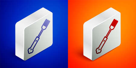 Isometric line Fork icon isolated on blue and orange background. Cutlery symbol. Silver square button. Vector
