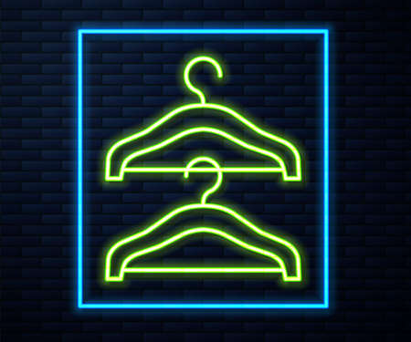Glowing neon line Hanger wardrobe icon isolated on brick wall background. Cloakroom icon. Clothes service symbol. Laundry hanger sign. Vector