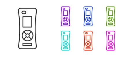 Black line Remote control icon isolated on white background. Set icons colorful. Vector