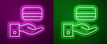 Glowing neon line Digital door lock with wireless technology for unlock icon isolated on purple and green background. Door handle sign. Security smart home. Vector  イラスト・ベクター素材