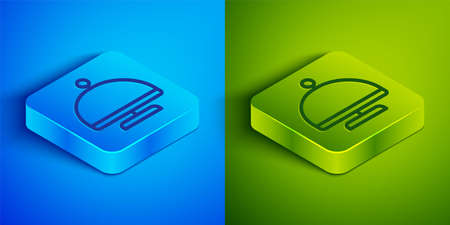 Isometric line Covered with a tray of food icon isolated on blue and green background. Tray and lid sign. Restaurant cloche with lid. Square button. Vector  イラスト・ベクター素材