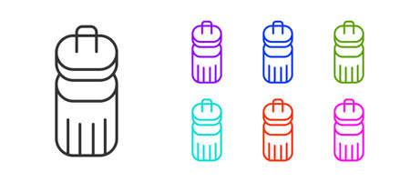 Black line Trash can icon isolated on white background. Garbage bin sign. Recycle basket icon. Office trash icon. Set icons colorful. Vector  イラスト・ベクター素材