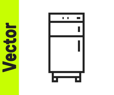 Black line Refrigerator icon isolated on white background. Fridge freezer refrigerator. Household tech and appliances. Vector