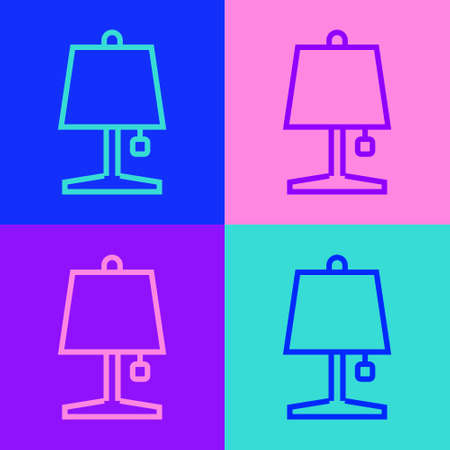 Pop art line Table lamp icon isolated on color background. Vector  イラスト・ベクター素材