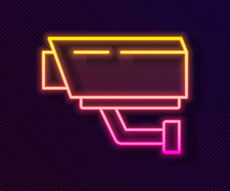 Glowing neon line Security camera icon isolated on black background. Vector