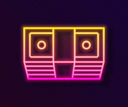 Glowing neon line Bribe money cash icon isolated on black background. Money banknotes stacks. Bill currency. Vector