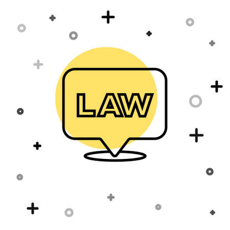 Black line Location law icon isolated on white background. Random dynamic shapes. Vector Illustration