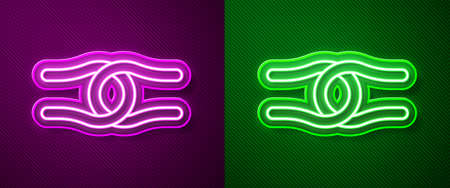 Glowing neon line Rope tied in a knot icon isolated on purple and green background. Vector