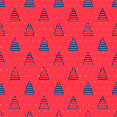 Blue line Pyramid toy icon isolated seamless pattern on red background. Vector