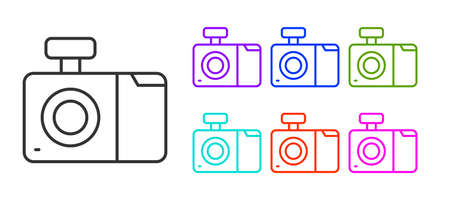 Black line Photo camera icon isolated on white background. Foto camera icon. Set icons colorful. Vector
