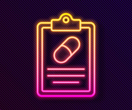Glowing neon line Medical prescription icon isolated on black background. Rx form. Recipe medical. Pharmacy or medicine symbol. Vector  イラスト・ベクター素材