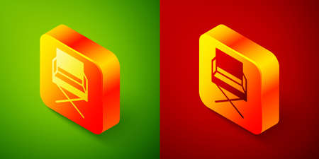 Isometric Director movie chair icon isolated on green and red background. Film industry. Square button. Vector Illustration
