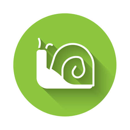 White Snail icon isolated with long shadow. Green circle button. Vector