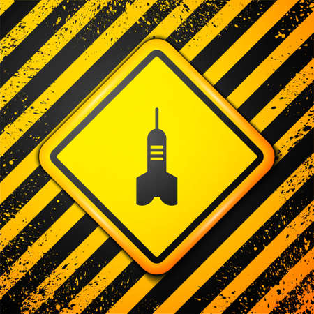 Black Dart arrow icon isolated on yellow background. Warning sign. Vector