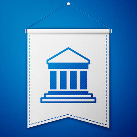 Blue Parthenon from Athens, Acropolis, Greece icon isolated on blue background. Greek ancient national landmark. White pennant template. Vector