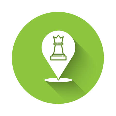 White Chess icon isolated with long shadow. Business strategy. Game, management, finance. Green circle button. Vector