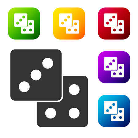 Black Game dice icon isolated on white background. Casino gambling. Set icons in color square buttons. Vector