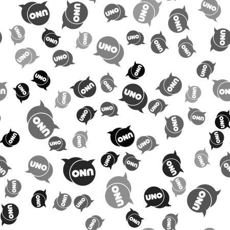 Black Uno card game icon isolated seamless pattern on white background. Vector