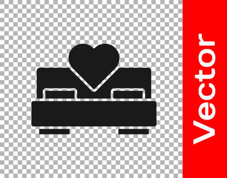 Black Bedroom icon isolated on transparent background. Wedding, love, marriage symbol. Bedroom creative icon from honeymoon collection. Vector