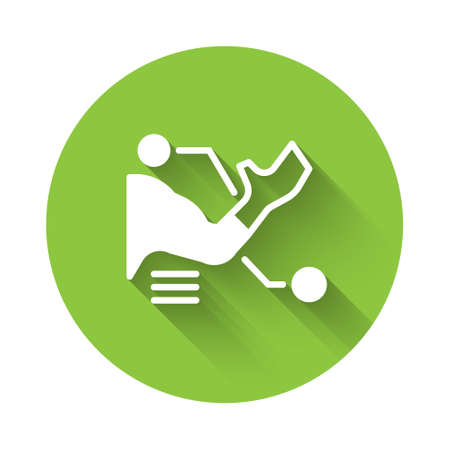 White Prosthesis hand icon isolated with long shadow. Futuristic concept of bionic arm, robotic mechanical hand. Green circle button. Vector