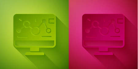Paper cut Genetic engineering modification on laptop icon isolated on green and pink background. DNA analysis, genetics testing, cloning. Paper art style. Vector Иллюстрация