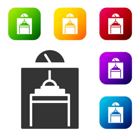 Black Lift icon isolated on white background. Elevator symbol. Set icons in color square buttons. Vector